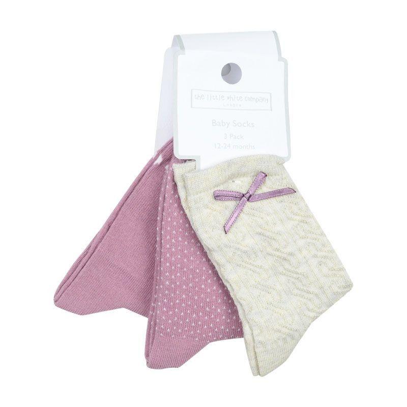 Kάλτσες Κορίτσι Pretty Bow 6-24μ Εκρού-Ροζ