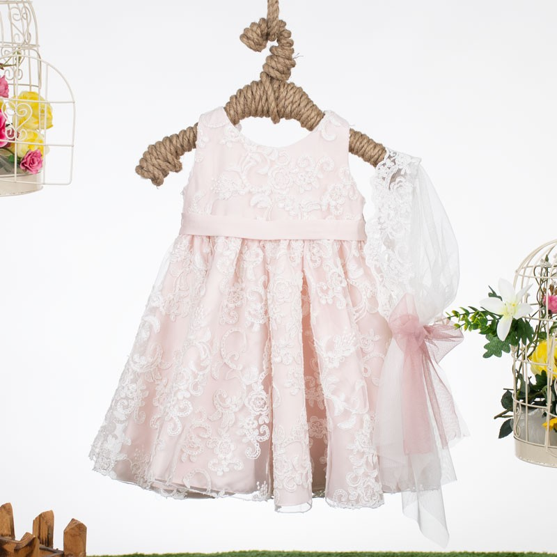 Φόρεμα Βάπτισης 132 pink by bomboniera (12-24 Μηνών)