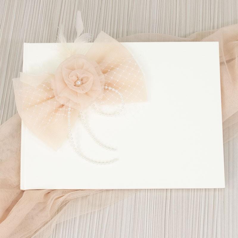 Χειροποίητο Βιβλίο ευχών Σομόν λουλούδι 202521