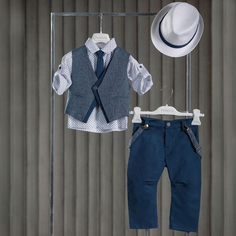 Κοστούμι Βάπτισης Piccolino Silvio Aegean Blue AG20S28