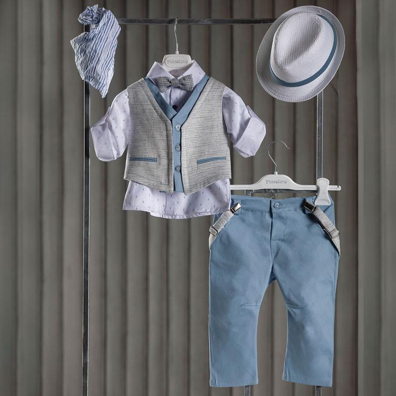 Κοστούμι Βάπτισης Piccolino Alberto Light Blue AG21S33