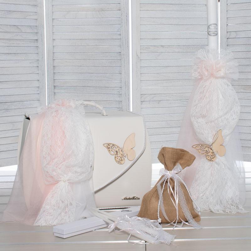 Οικονομικό Πακέτο Κορίτσι Makis Tselios 179 Βαλιτσα Δερμάτινη Ροζ Πεταλούδα